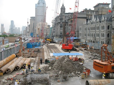 Construction on the Bund, Shanghai, 2008