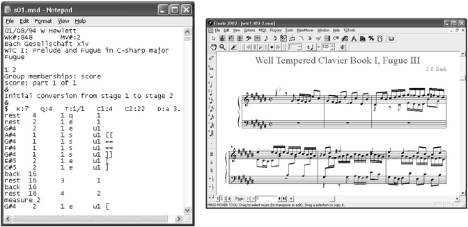 """Before"" and ""after"" views of J.S. Bach example moving from MuseData to Finale via MusicXML 1.0"
