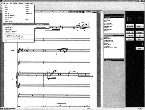 Import via MusicXML of Robert Kyle Hamilton's Triages (2005) in NOTION
