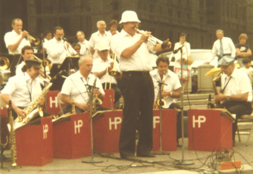 Herb Pomeroy and band performing in Copley Square, Boston, early 1980s