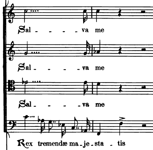 Example of 4 augmentation dots on a half note in Verdi Requiem