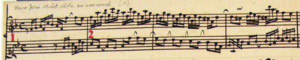 Musical score of Bach editorial example, first variant