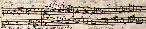 Musical score of Bach editorial example, second variant