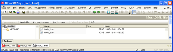 Screenshot of opening the bach_1.mxl file in the XMLSpy editor