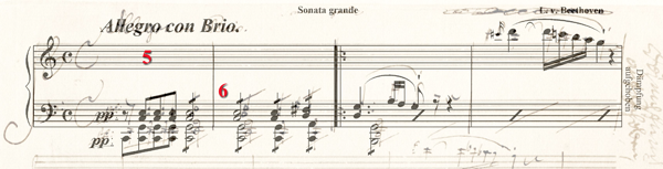 Musical score of Beethoven editorial example overlaid with Finale encoding