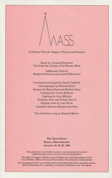 Program for Mass at Opera Company of Boston performed in January 1989.