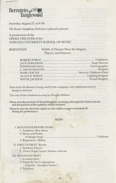 Program for Mass performed at Tanglewood on August 27, 1988