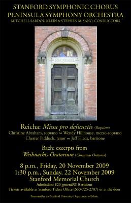 Stanford Symphonic Chorus poster for Reicha Requiem concert