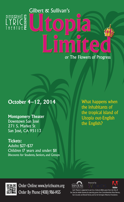 Poster for Utopia, Limited at Lyric Theatre of San Jose.
