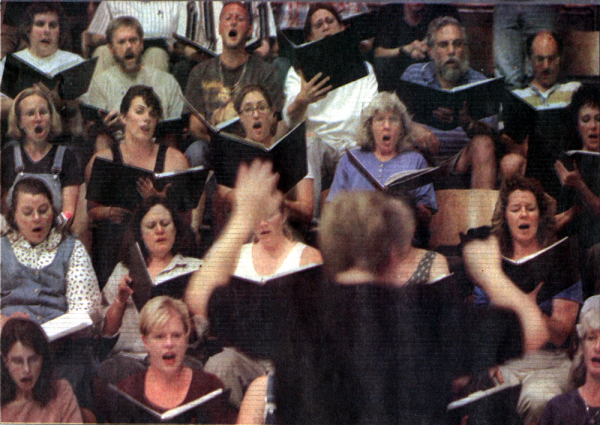 Mass chorus rehearsal at Cabrillo Festival for Contemporary Music, August 1999.
